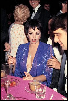 "Liza Minnelli at her birthday party at Studio 54, 1979. I love that she's working the ""JLO dress"" before JLO ever did."