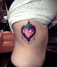 Tatto Ideas 2017 diamantenes Herz mit Verzierungen als Symbol für meine Tochter. Vielleicht an e