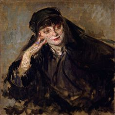 "Study for a portrait of Anna de Noailles, 1912 by Jacques-Émile Blanche (1861-1942). Anna, Comtesse Mathieu de Noailles (1876 – 1933), was a Romanian-French writer & poet who became the toast of Parisian high society and artistic circles. She was the first woman to become a Commander of the Legion of Honor, the first woman to be received in the Royal Belgian Academy of French Language and Literature, and she was honored with the ""Grand Prix"" of the Académie Française in 1921."