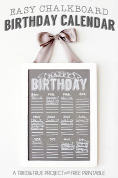 DIY Chalkboard Birthday Calendar - An easy project to help you remember important dates in the new year!