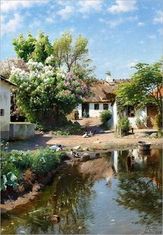 Peder Mork Monsted: Spring day at a thatched house with blooming lilacs