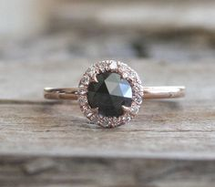 Rose Cut Black Diamond Halo Ring in 14K Rose Gold by Studio1040