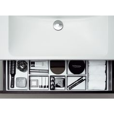 Forma drawers have practical dividers to keep bottles upright and a non-slip mat. Bathroom Collections, Bathroom Furniture, Furniture Collection, Sephora, Dividers, Bottles, Drawers, Stuff To Buy, City
