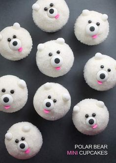 Polar Bears Mini Cupcakes --- or make me this. i LOVE polar bears! - Polar Bears Mini Cupcakes — or make me this… i LOVE polar bears! Christmas Desserts, Christmas Treats, Christmas Baking, Holiday Treats, Christmas Cookies, Christmas Foods, Cupcakes Design, Bear Cupcakes, Cute Cupcakes