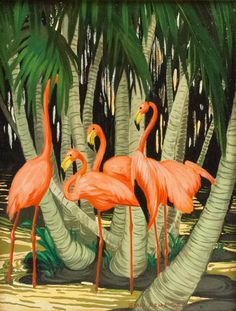 "Jessie Arms Botke - ""Flamingos"" 