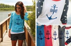 slouchy alternative apparel nautical anchor long sleeve pullover. Perfect for 4th of July and summer nights! Groopdealz offer so hurry!