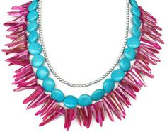 Fuchsia Pink Mother of Pearl & Turquoise Statement Necklace - Hot Pink and Turquoise Necklace