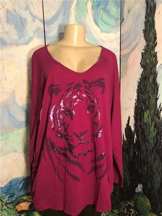 3c595948411 Just My Size Plus 3X New Purple Tiger Graphic Ruched Side Long Sleeve Tunic  Top #
