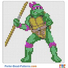 Donatello perler bead pattern. Download a great collection of free PDF templates for your perler beads at perler-bead-patterns.com