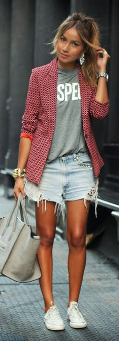 Joie Blazer, Zara Tee, Levi's Shorts by Sincerely Jules