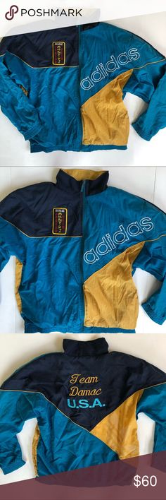 a7bba84c5c42 Adidas Vintage Spell Out Logo Windbreaker Blue, navy and mustard yellow  Windbreaker vintage jacket from
