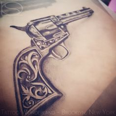 #custom #filigree #revolver #tattoo #flash by @sandydex_tattoos…