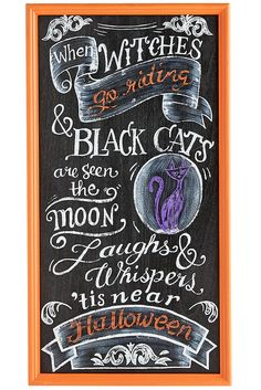 Trick out your home this Halloween with Pier most bewitching collections to date. From welcoming trick-or-treaters to hosting a sophisticated soiree for grown-ups, we have plenty of simply spooktacular decorating and entertaining ideas for you. Halloween Chalkboard Art, Fall Chalkboard, Halloween Quotes, Halloween Signs, Holidays Halloween, Halloween Crafts, Halloween Decorations, Chalkboard Ideas, Chalkboard Quotes