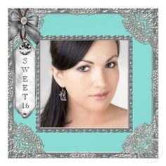 Teal Blue and Silver Photo Sweet 16 Birthday Party