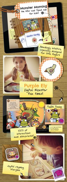 Click this pin to get your Monster Morning Ipad app for kids on Itunes.  Only $1.99!   www.purple-ely.com