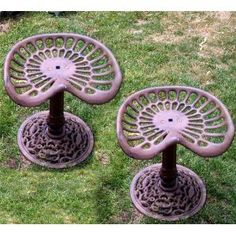 Tractor seat garden stools. I will have these all over my yard one day but I will make my own so they are all different and unique.