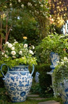 Our Blue and White Painted Tabletop Planter is an indulgence in ornate foliage, exotic birds and ceramic tile designed artistry.