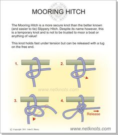 Although a more secure knot than the Slippery Hitch, this knot is only a temporary knot.