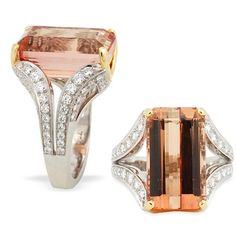 Peach Imperial Topaz and Diamond Ring