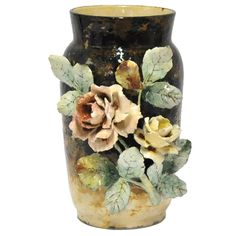 19th Century Barbotine Majolica Vase   From a unique collection of antique and modern vases and vessels at https://www.1stdibs.com/furniture/decorative-objects/vases-vessels/