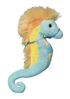"Douglas 9"" Plush Animal Turquoise & Yellow Sea Horse"