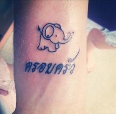 tiny elephant tattoo with name