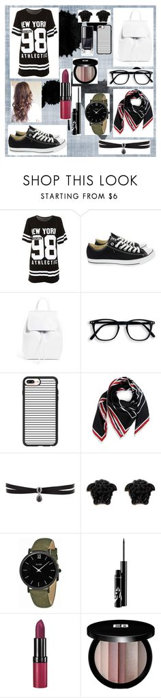 """""""Untitled #83"""" by christinaioana ❤ liked on Polyvore featuring Converse, Mansur Gavriel, Casetify, Givenchy, Fallon, Versace, CLUSE, Rimmel and Edward Bess"""