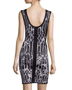 TAL20 Herve Leger Sleeveless Jacquard Fitted Dress, Black Combo