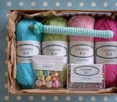 Granny Kit  Crochet Kit Colourful Fun Box    ready por CrochetObjet, $37.00