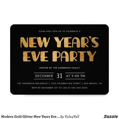 modern gold glitter new years eve party invitation