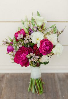 Love this bouquet, perhaps key inspiration for the bride's bouquet? Raspberry garden roses, lisianthks and wax flower bouquet. Spring Wedding Bouquets, Peony Bouquet Wedding, Bride Bouquets, Bridesmaid Bouquets, Flower Bouquets, Purple Bouquets, Magenta Flowers, Bridesmaid Ideas, Spring Weddings