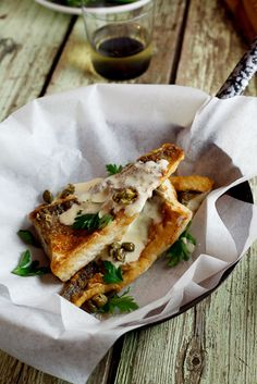 Pan-fried fish with lemon-cream sauce & capers