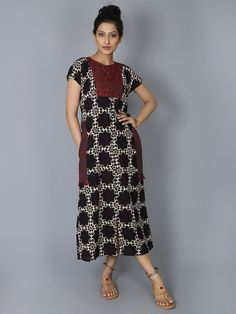 Black Cotton Hand Block Printed Yoke Dress