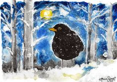 Blackbird painting by Alicia Sivertsson, 2015. Aquarelle on paper.