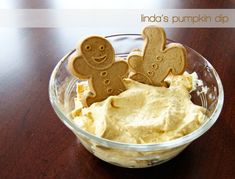 pumpkin dip...not made the traditional way with cream cheese, but instead made with cool whip, vanilla pudding mix, pumpkin pie spice, and canned pumpkin.