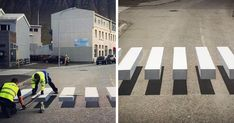 In the small fishing town of Ísafjörður, Iceland, an exciting development in road safety has just popped up - almost literally. A new pedestrian crossing has been painted that appears to be by way of a cleverly-detailed optical illusion. Rest Of The World, Change The World, Road Safety Quotes, Passage Piéton, Pedestrian Crossing, 3d Street Art, Arte Pop, Thinking Outside The Box, Slow Down
