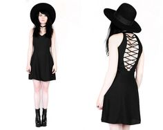 Vtg 90s Black Cage Back Cut Out Minimalist Goth by velvetcave