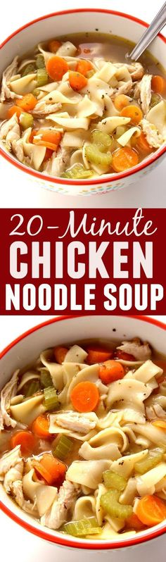 20-Minute Chicken Noodle Soup Recipe - the ultimate comfort food that never fails. Quick and easy chicken noodle soup to beat the cold or just satisfy the craving.