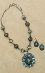 Turquoise Engraved Drop Pendant Necklace and Earring Set | Cavender's