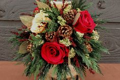 Champagne and Ruby Red Rose Bouquet, Winter Wedding Bouquet, Rustic Wedding, Holiday Wedding, Woodland Wedding, Woodland Bouquet
