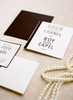 Coco Chanel Wedding Stationery Inspiration | Read More - http://onefabday.com/coco-chanel-wedding-inspiration/
