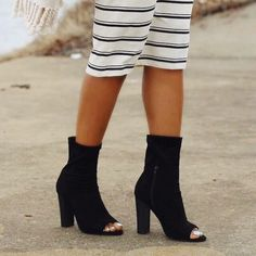 Peep keepingupwithcandyblog in our Let It Be Chunky Peep-Toe Booties