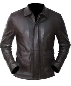 Harrison Ford Indiana Jones Brown Vintage Synthetic Leather Jacket at Amazon Men's Clothing store: