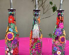 Hand Painted Glass Bottles for Oils, Vinegars, Soaps, Liqueur; Beautiful Unique Hostess and Housewarming Gifts; Enamel Paint For Glass, Painted Glass Bottles, Bottles And Jars, Glass Jars, Diy Bottle, Glass Bottle Crafts, Bottle Art, Oil And Vinegar Dispensers, Olive Oil Dispenser