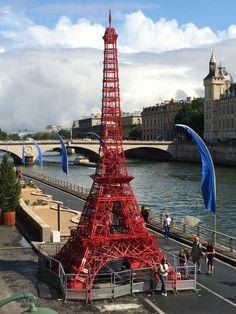 Miniature Eiffel Tower along the Seine #france #paris #travel #eiffeltower #seine