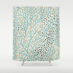 Berry Branches – Turquoise & Gold Shower Curtain