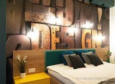 Productie pal, , dormitor, print tapet cu litere Design.