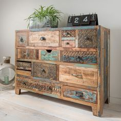 Chest of drawers Reclaim - Recycled solid wood surface vintage treated 14 drawers handles and fronts in different designs WxHx - Shelf Furniture, Iron Furniture, Chalk Paint Furniture, Refurbished Furniture, Upcycled Furniture, Furniture Makeover, Furniture Design, Living Room Decor Inspiration, Reclaimed Wood Furniture