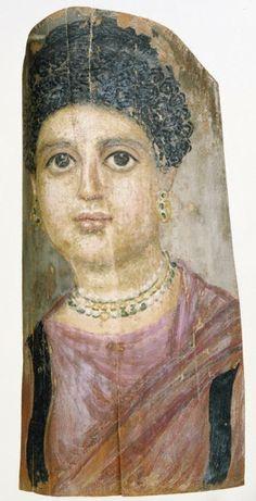 Attributed to Malibu Painter (Romano-Egyptian, active 75-100), 75-100, Mummy Portrait, Romano-Egyptian, encaustic on wood. (Getty)