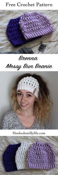 Brenna Messy Bun Beanie - Free Crochet Pattern A few years ago bun beanies went . Brenna Messy Bun Beanie - Free Crochet Pattern A few years ago bun beanies went VIRAL. And when I say viral, I mean inst. Easy Crochet, Crochet Baby, Knit Crochet, Beginner Crochet, Crochet Style, Crochet Shawl, Crochet Stitches, Crochet Beanie Pattern, Crochet Slippers
